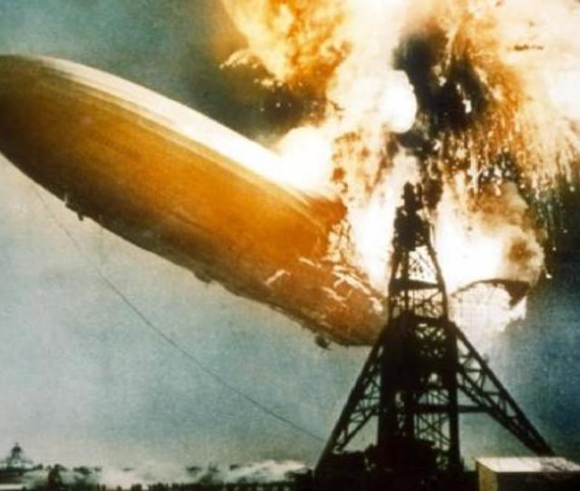 The Hindenburg Bursts Into Blames Above Lakehurst New Jersey On May 6 1937