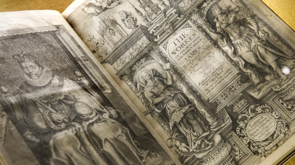 medium resolution of a 1616 printed king james bible translated by james i on display at the folger shakespeare