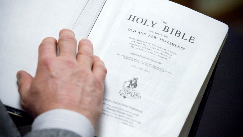 medium resolution of a copy of the king james translation of the bible seen in the bible baptist church