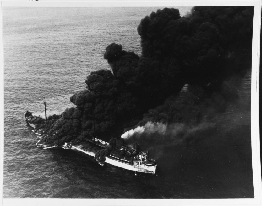medium resolution of ss pennsylvania sun burning after being torpedoed by u 571 july 1942 naval german submarine