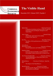 Cover and table of contents of The Visible Hand (a peer reviewed journal)