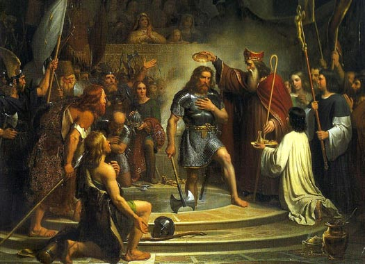 Baptism of Clovis in Reims: http://www.museehistoiredefrance.fr/index.php?option=com_oeuvre&view=detail&cid=205