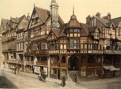 British stucco and cross-beam buildings