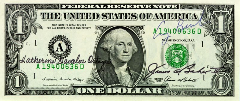 President George H W Bush Currency Signed With