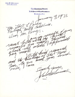 John W. Mccormack Autographs, Memorabilia & Collectibles