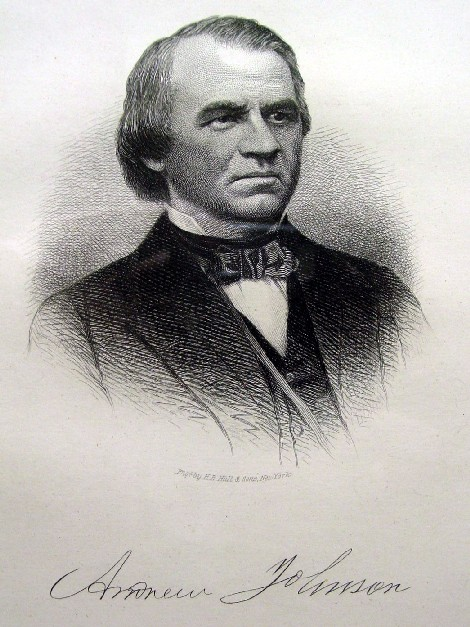 1869 President Andrew Johnson Autograph and Engraving