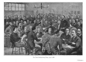 Print of Charles Stewart Parnell (standing) and his MPs in April 1886. (T.P. O'Connor, Memoirs of an Old Parliamentarian, vol. I, 1929)