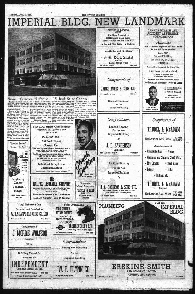 """""""Imperial Bldg. New Landmark"""" Ottawa Journal, April 29, 1957"""