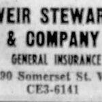 Weir Stewart & Company took over the space in 1955. Source: Ottawa Journal, May 24, 1957.