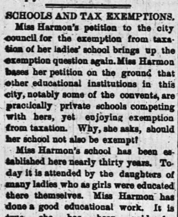 In 1891, Miss Harmon petitioned City Hall to grant her school an exemption from taxes. Source: Ottawa Journal, December 9, 1891.