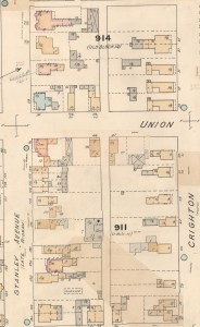 Detail from the 1888 (1901 Revision) Goad's Atlas showing 92 Stanley and 34 Union. Following the death of her husband, Jane McLeod moved into the smaller wood-frame home behind her old home.