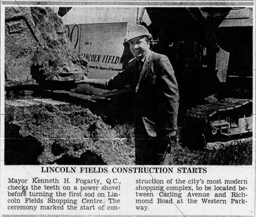 The ceremonial hardhat and bulldozer finally made their appearance on the 16-acre lot on June 9, 1971. Source: Ottawa Journal, June 10, 1971.