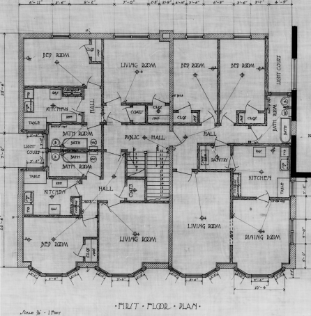 Ben Albert Dore's plan for the addition of shops and apartments. First floor plan. Source: Library and Archives Canada, Ben Albert Dore, Job 34, NMC 112578.