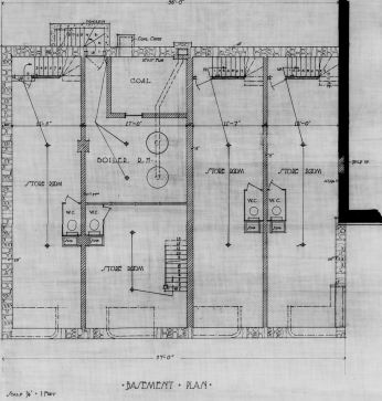 Ben Albert Dore's plan for the addition of shops and apartments. Basement plan. Source: Library and Archives Canada, Ben Albert Dore, Job 34, NMC 112576.