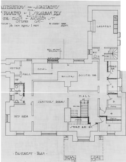 The Basement level. I did not collect floors 1, 2 or 3. Source: Source: Library and Archives Canada, Ben Albert Dore, Job 35