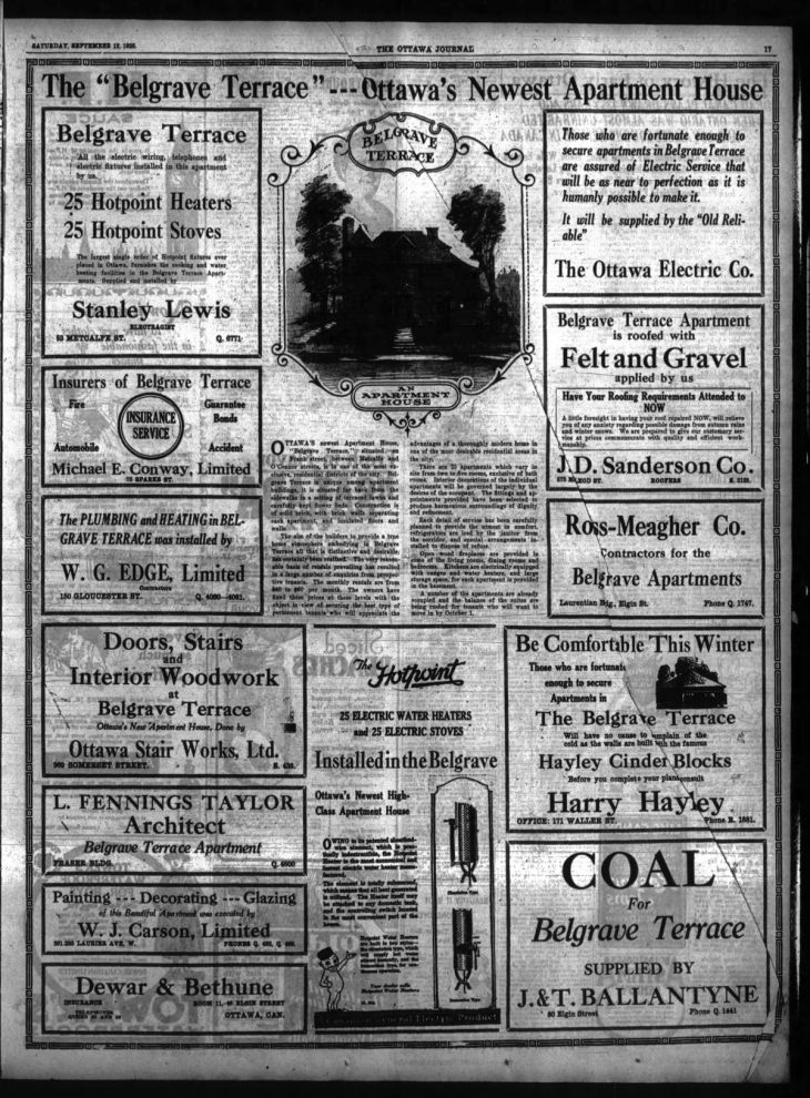 Given the normal target market for apartments during the 1920s, the full page ad became the normal way to announce one. Note that the wood work was provided by Ottawa Stair Works. Source: Ottawa Journal, September 12, 1925, p. 15.