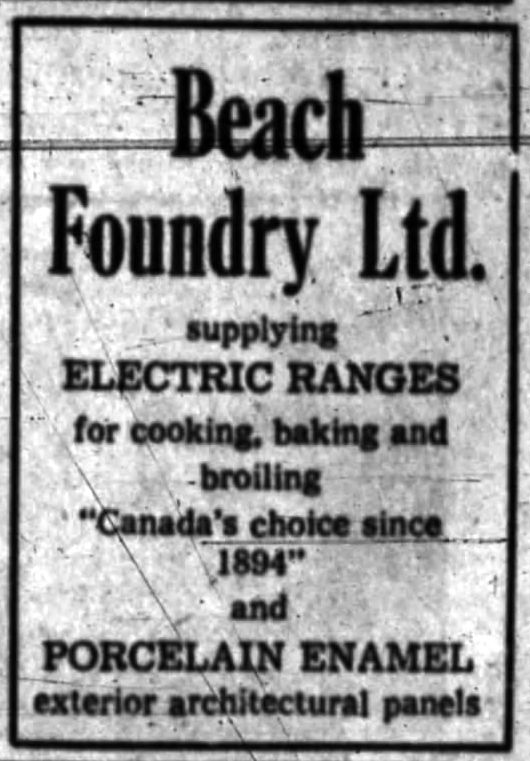 Dugas didn't have to go far for the electric ranges in the building's 26 units. Source: Ottawa Journal, November 27, 1962.