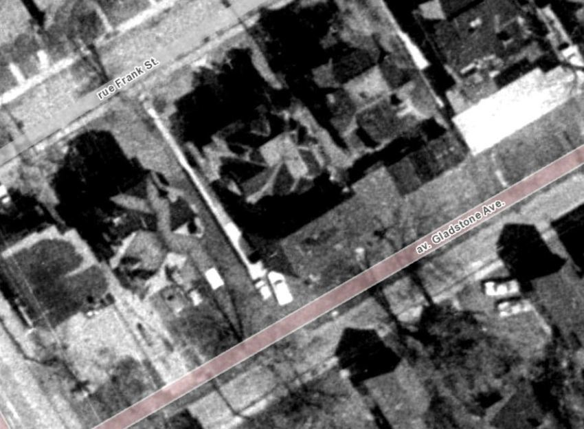 """""""Just a little off the back."""" The Franconna (formerly Belgrave Terrace) after Taylor's annex portion was partially demolished. Image: geoOttawa, 1965 Aerials."""