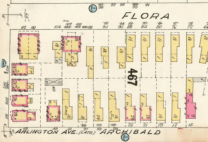 90, 94, 98 Flora, as they appear on the 1902 (1912 Revision) Goad's Insurance Atlas.