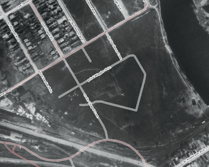 Undeveloped Crown land on the south side of Mann Avenue, 1928. Source: uOttawa / NAPL / geoOttawa.