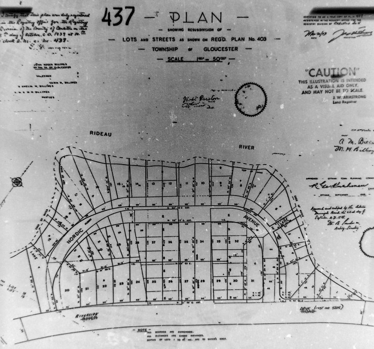 In 1939, following a loss of the subdivision to tax arrears, Place Bon Homme was redivided. Source: Ottawa Land Registry Office, Plan 437.