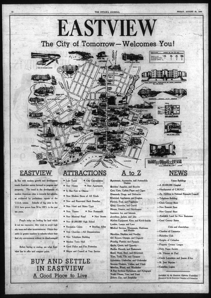Blake's famous map of Eastview, as published in the Ottawa Journal. Source: Ottawa Journal, August 25, 1950, p. 12.