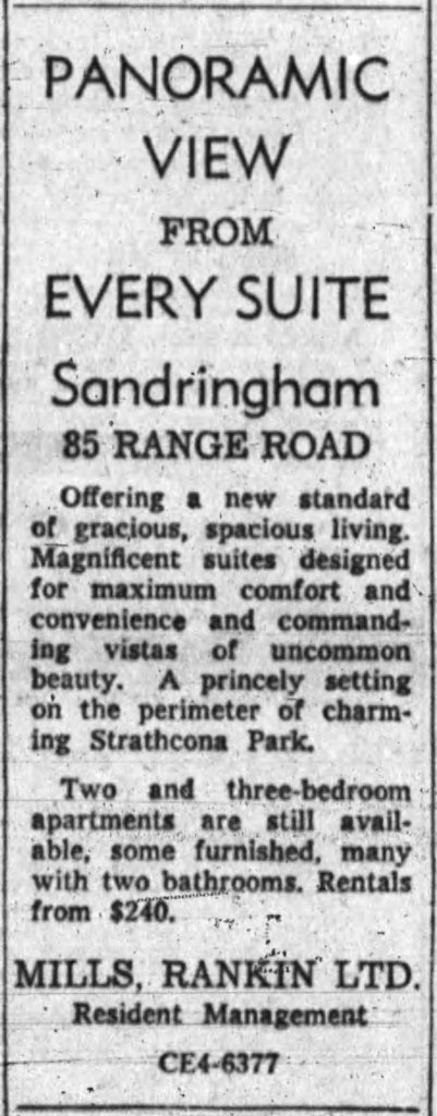 Mills Rankin Limited began renting out The Sandringham once the deal was complete. Source: Ottawa Journal, June 10, 1959, p. 48.