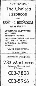 Now Renting. The Chelsea Apartments. The apartment was equipped with dressing rooms. Source: Ottawa Journal, September 9, 1961, p. 23.