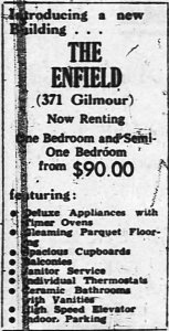 The Enfield boasted rents of $90 per month. Source: Ottawa Journal, July 30, 1963, p. 40.