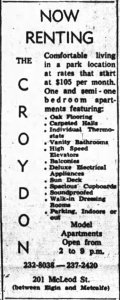 Advertisement for The Croydon. Source: Ottawa Journal, October 8, 1963, p. 29.