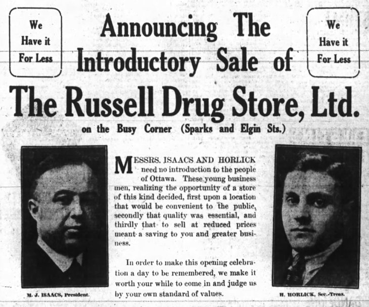 """Perhaps Isaacs and Horlick decided to open a second drug store at Bank and Sparks because they longed for the """"real"""" Busy Corner. Source: Ottawa Journal, February 10, 1921, p. 13."""
