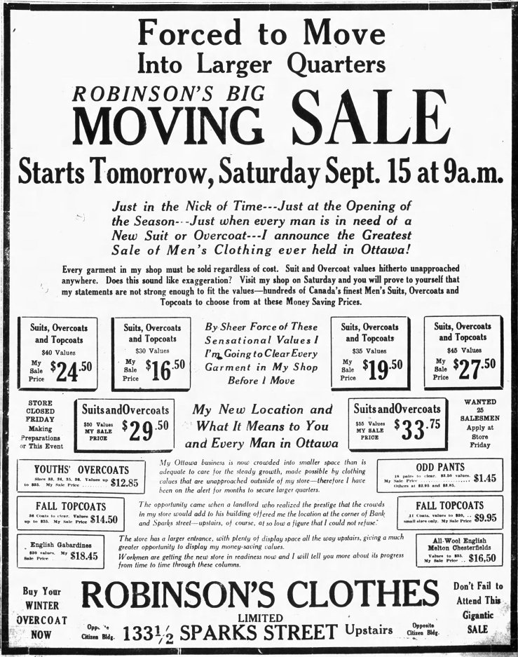 M.C. Robinson was offered a deal he could not refuse. Source: Ottawa Journal, September 14, 1923, p. 15.