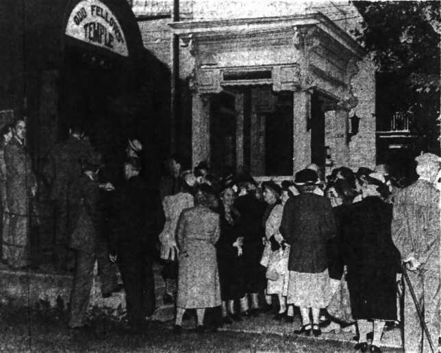 Temperance Advocates storm the Oddfellows' Hall on Somerset Street. Source: Ottawa Journal, August 30, 1949, p. 1.