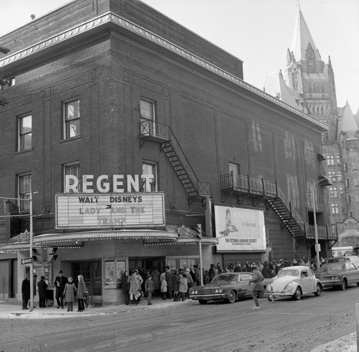 """Advertisements for the Belmont Pharmacy were among the first to draw attention to its proximity to the Regent Theatre on the northwest corner of Bank and Sparks. Image: Bill Cadzow / CMHC 1973-16, Image 1 (""""Demolition shot of Regent Theatre - taken for E. Minton (1972) - W. Cadzow."""")"""