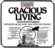 """Gracious Living"" and it's close to all of the action. Source: Toronto Star, February 4, 1981, p. A11."