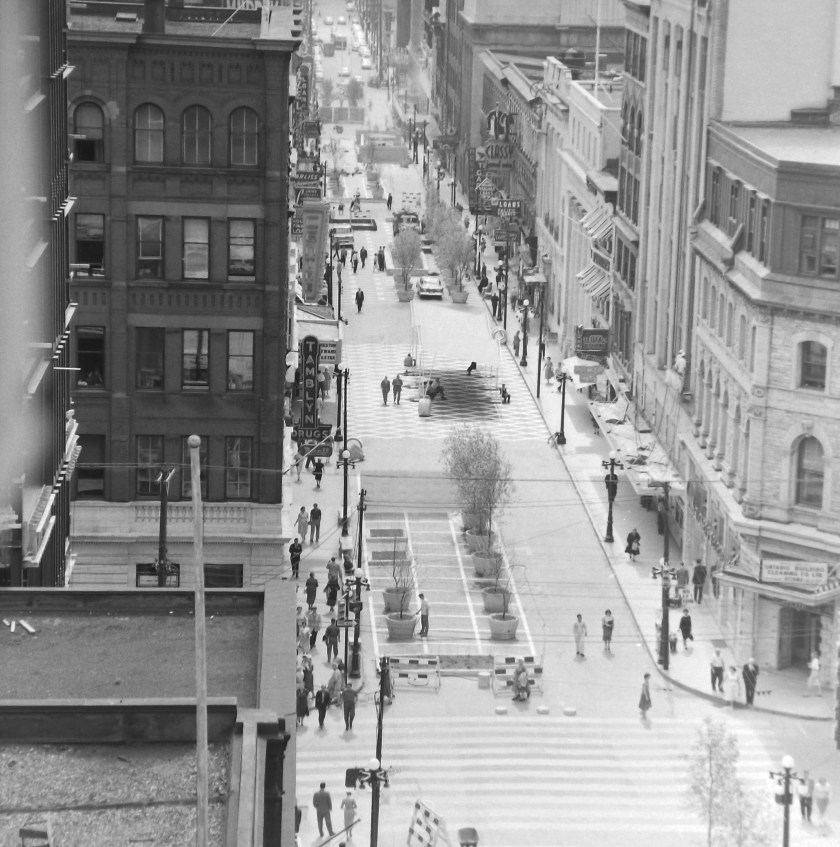 The corner of Sparks and Metcalfe from above, 1960. Image: Ted Grant / LAC Accession 1981-181 NPC Series 60-803, Image 35.