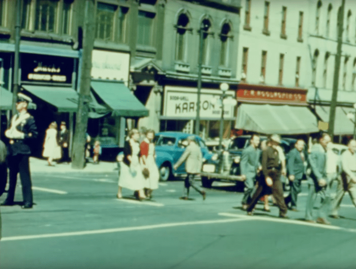 "Still from ""Safe Driving"" (1949) showing Karson's on Rideau."