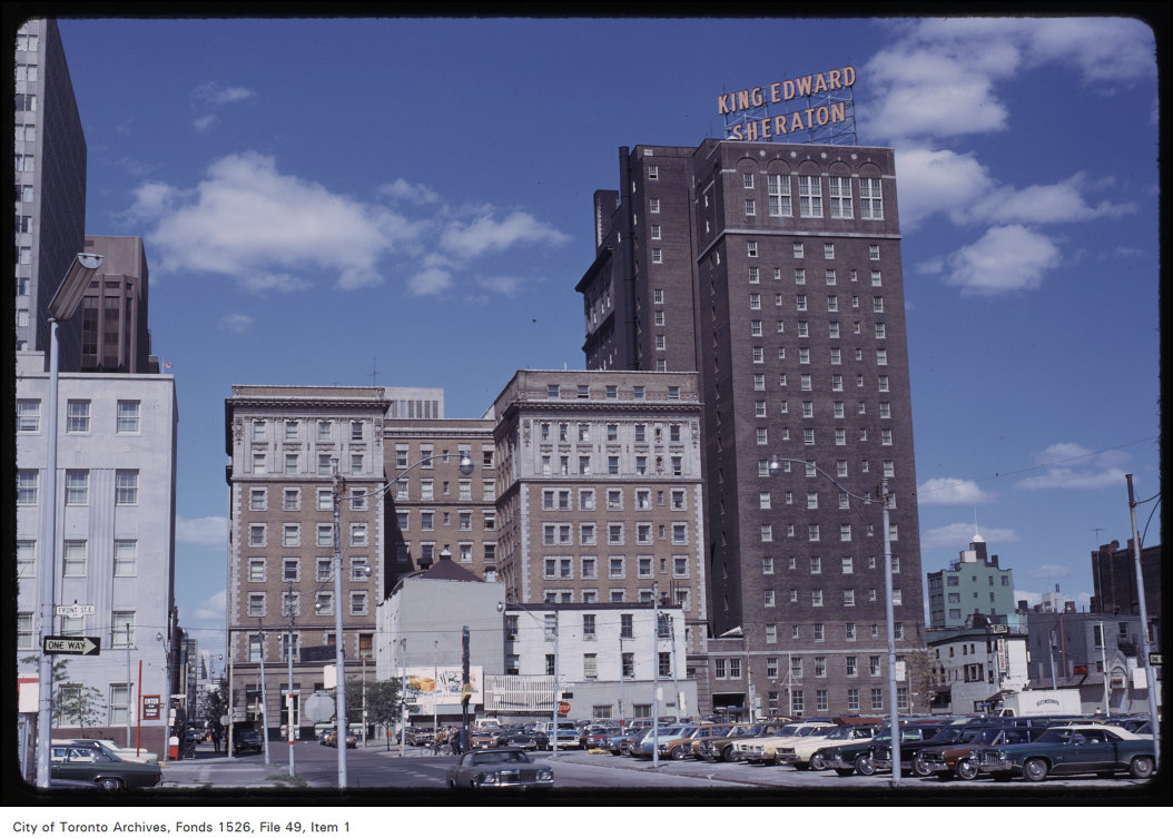 The King Edward Hotel from the rear. Harvey R. Naylor, September 11, 1973. Image: Fonds 1526, File 49, Item 1.