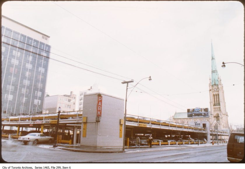 One of the many City Parking (Citipark) lots, located at King E. and Toronto. 1978. Image: City of Toronto Archives, Former City of Toronto Fonds (200), Urban Design Photograph Series (1465), File 299, Item 6.