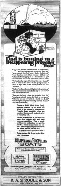 Sproule began to sell Disappearing Propeller boat (Dispros) in 1922. Source: Ottawa Journal, May 9, 1922, p. 15.