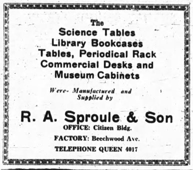 Sproule supplied much of the wooden furnishings for the High School of Commerce. Source: Ottawa Journal, May 4, 1930, p. 14.