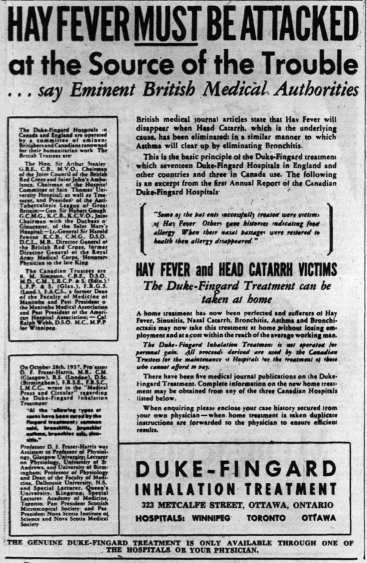 Advertisement for the Ottawa Duke-Fingard Inhalation Hospital. Source: Ottawa Journal, August 26, 1940, p. 4.