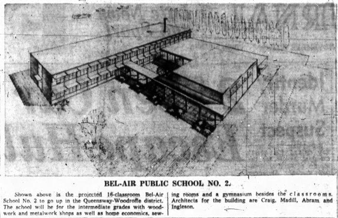 Sketch of Bel-Air Intermediate. Source: Ottawa Journal, November 13, 1959, p. 2.