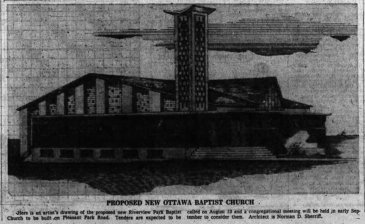 Sherriff's sketch for the Riverview Park Baptist Church. Source: Ottawa Journal, September 13, 1960, p. 34.