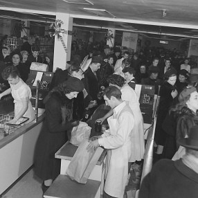 Malak was hired to capture the Christmas rush at Freiman's in 1947. Image: Malak Karsh / Library and Archives Canada Accession 1985-070, Job 927, Container 19.