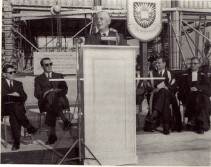 Hart Massey (far left) spent much his time on the buildings and site plans for Carleton University. Image: 1960.