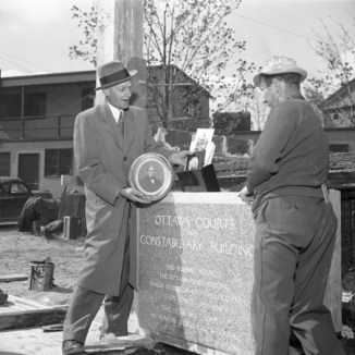 Cornerstone ceremony, May 24, 1956. Image: City of Ottawa Archives CA038615.