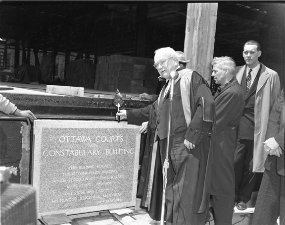 Cornerstone ceremony, May 24, 1956. Pictured is Judge Gordon McDougall. Image: City of Ottawa Archives CA038619.