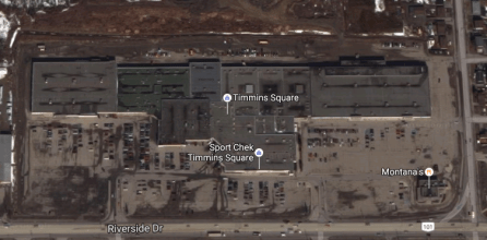Timmins Square from above. Image: Google Maps.