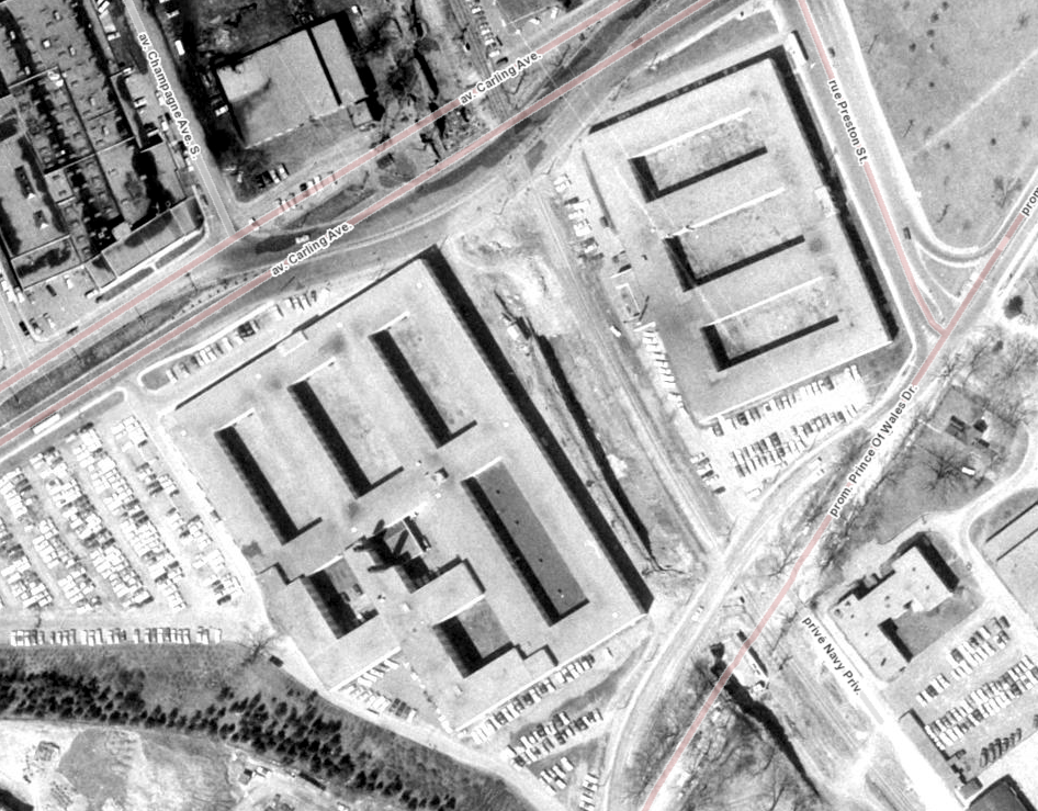 The wartime temporaries on Carling, at Preston. Image: geoOttawa.